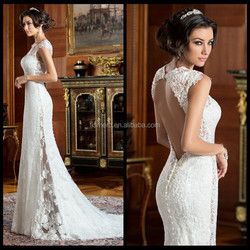 Sweet heart wedding gown/lace bodice illusion open back ethereal sheer over skirt couture bridal 2015 /sexy sheath wedding dress