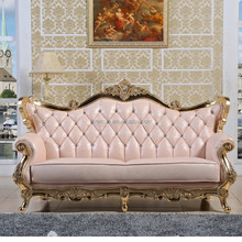 luxury 2-seater cotton linen fabric french style neoclassic furniture with gold paper foil 3+2+1