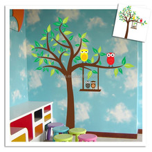 Owls Tree branch Wall Art Stickers Kids Nursery Decal Boys Bird