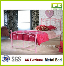2015 New Design Latest Metal Double Bed Designs Pink Colour