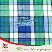 Mint barato verde e azul claro 100 algodão camisa xadrez estampas de tecido