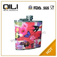 6oz caliente venta de transferencia en caliente de acero inoxidable de diseño popular comprar licor frasco de la cadera
