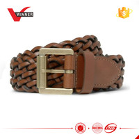 Brown braided genuine leather belts
