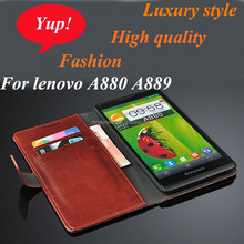 Luxury Flip Leather Phone Case for Lenovo A880 A889, Wallet Stand Card Slot Back Cover Case for A880A889