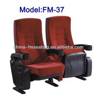FM-37 plastic seat and back pad flexible armrest with cup holder for theater cinema chair