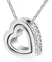 O Shape Chain Free Shipping Double Heart Pendant Necklace Heart Necklace Come with O Shape Chain