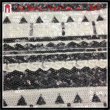 classical black white metallic sequin mesh fabric
