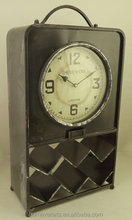 antique black table clock with wine rack