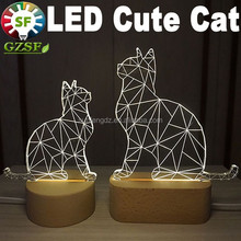 2015 new style funny cat bedroom night light, dimmable led bedsid lamp for kids