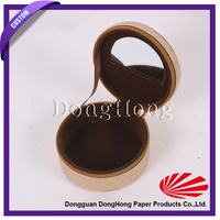 Round Shaped Leather Gem Display Box With hinged lid
