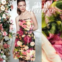 Rose digital printed silk velvet fabric for silk coat / silk fabric for inkjet printing