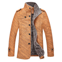Artificial wool inside winter fashion mens leather coat