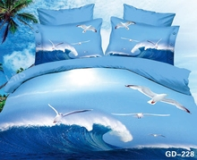 Beautiful Blue 3d Bed Set with Ocean Waves and Seagulls