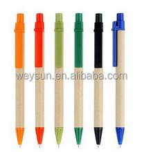 Eco paper pen,platic clip green concept environmental ball pen promotion gift