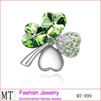 18 Karat Gold Plated Jewellery Clover Brooch Accessories