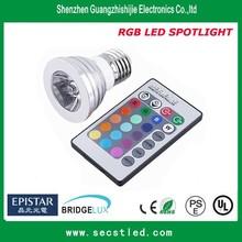 220V 230V 240V Multi colors 3w cob GU10 MR16 E27 led spot light bulb with remote control