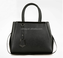 Women's grain cowhide leather bags black supplier China