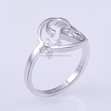 Jewelry fashion crystal wedding engagement party 925 silver sterling rings