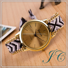 New Fashion Cute Handcrafted Woven Quartz Watch, Fabric Women Geneva Watches