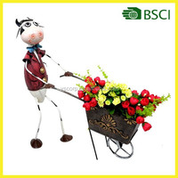YS12265 Metal doll with a cow flower pot