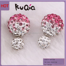 New Design Color Changable Fashion Crystal Earring Double Ball