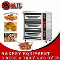 Shentop STBC-D06Q 3 layer 6 trays pizza oven gas commercial bakery-oven-prices baking oven