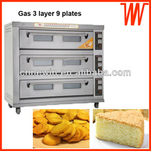 3 Layer 9 plates Natural gas Bakery Bread oven