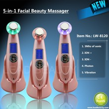 Ultrasonic facial massager with ion-photon-massager functions for skin whitening and rejunvenation