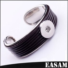 Wholesale Expandable interchangeable Silver Plated metal base leather Bangle Cuff for Snap Charms