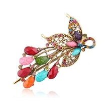 Luxury rhinestone resin hair clips handmade butterfly with flower hairgripsl women hair accessories factory price
