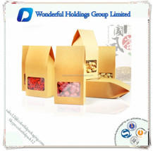plain Open the window kraft paper bags / stand up organ bags without printed / matte looks paper bags with window