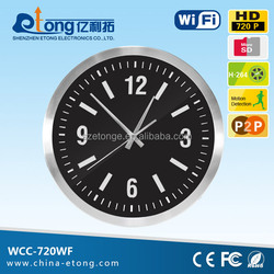 China supplier High quailty dvr recorder h.264 pin functional mini wall clock wireless wifi security camera system