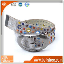 Special studded perforated leather belt with cute belt buckle