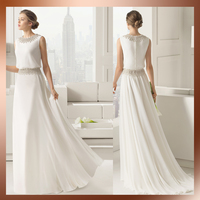 Floor-Length Hemline and OEM Service Supply Type diamond neck&waist decoration chiffon beach wedding dresses