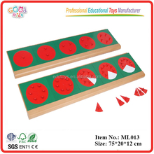 Montessori Language Materials Wooden Toddler Toys Metal Fraction Circles with Stands