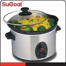 1.5L oval design slow cooker with tempered glass lid crock pot