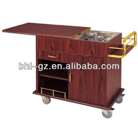 Antique Red Walnut Wood Gas Burners Restaurant Cooking Equipment Hotel Cooking Trolley with Castors