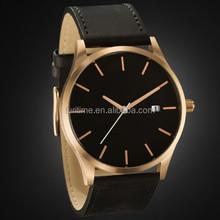 2015 Fashion black Leather Band Men's Sport Wrist Watch