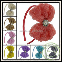 "IN STOCK 4.7""Beaded Chiffon Rosette Flower With Rhinestone Buttons Baby Boutique Hair Bows Headband"