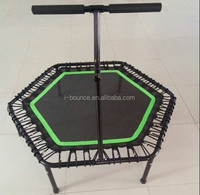 Hexagon fitness trampoline with handle bungee trampoline