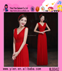 2015 China Made V Collar Sexy Chiffon Party Dress Boutique Shop Hot Sale Slim Long Red Evening Dress