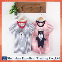Adorable Baby Girls Short Sleeve Stripe Cotton Shirt Wear