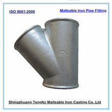 Y tee pipe fitting , galvanized malleable iron pipe fitting, Tees 45 degree,