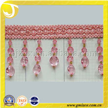 fresh fancy acrylic bead curtain tassel fringe of decorative polyester fashion curtain chain tassel fringe
