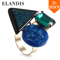 Green resin ring adjustable copper fashion rings for women 2015 gold plated metal crystal ring bijuteria bague