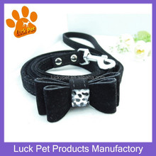 Luck Pets Products New Design Soft Velvet Fabric Small Dog Leads Bow Tie Decorative Puppy Pretty Pet Leashes