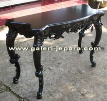 Black Carving Console Table - Timber Raw Material Furniture - Indonesia Furniture