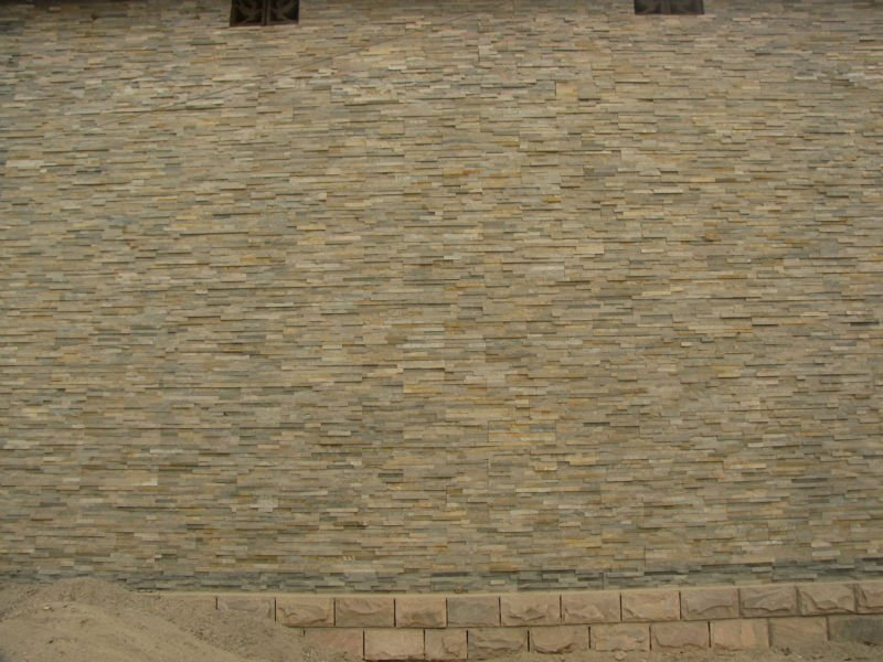 Beige empil s pierre coll de latex ledgestone p te for Pierre collee exterieur