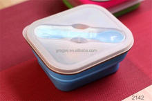 BPA Free indian lunch box silicone collapsible lunch box