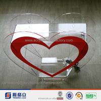 Factory heart shaped charity pop transparent money box